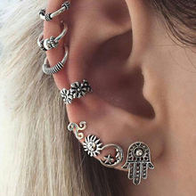 Europe And America Explosion Personal Engraving Retro Hand Earrings Hoop No Ear Hole Ear Clip Earrings For Women