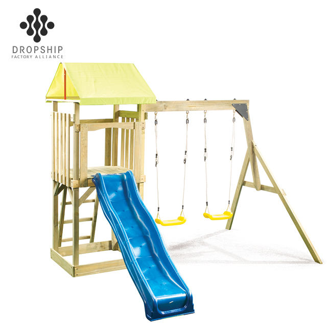 Dropship Best seller for kids outdoor play swing set cheap plastic outdoor playhouse