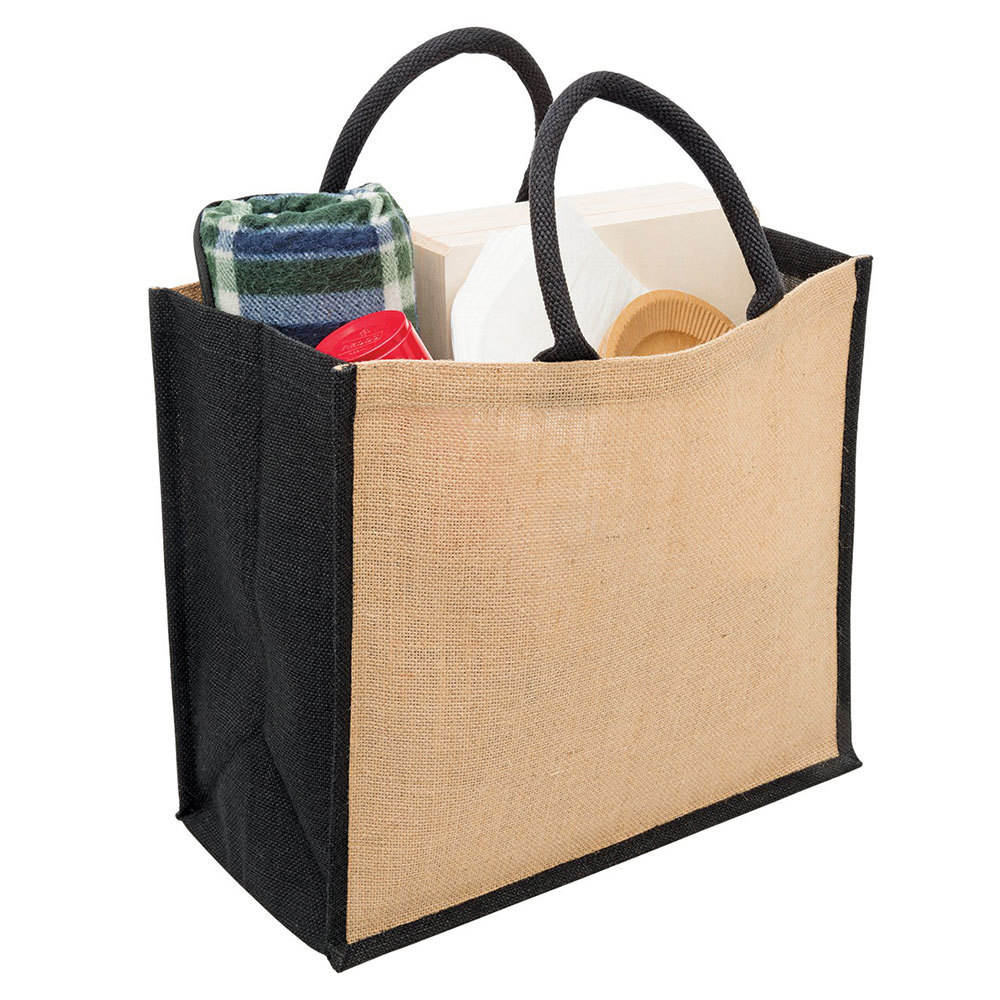 wholesale eco natural Plain Eco Jute Wide Gusset Tote shopping bag