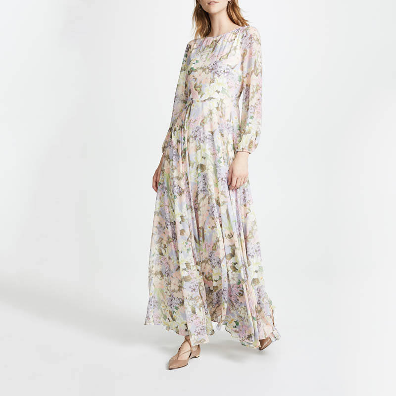 Latest Design Print Woman Long Sleeve Maxi Casual Dress
