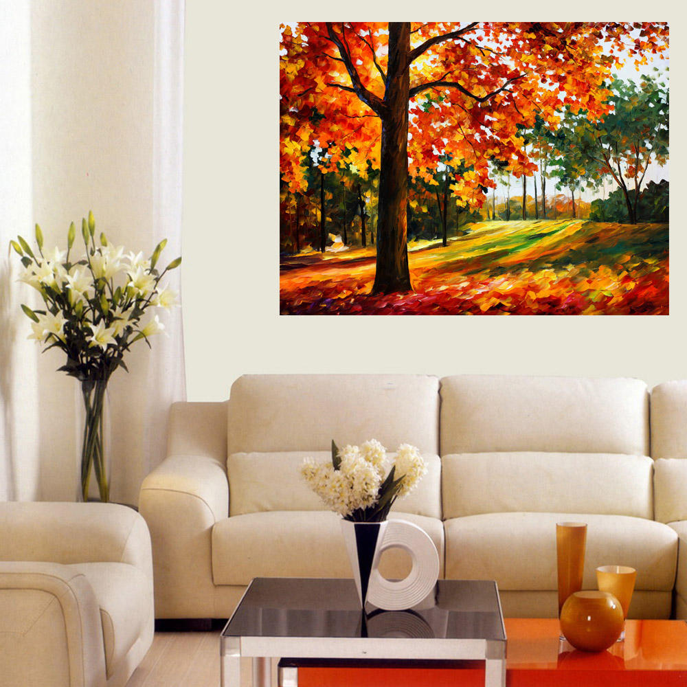 Large Lover Rain Street Tree Lamp Landscape Oil Painting On Canvas Wall Art Wall Pictures Abstract Acrylic Painting