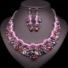 Gorgeous Bridal Silver Colorful Jewelry Set  Crystal Glass Vintage Style Costume African Necklace Earring Set For Women Wedding