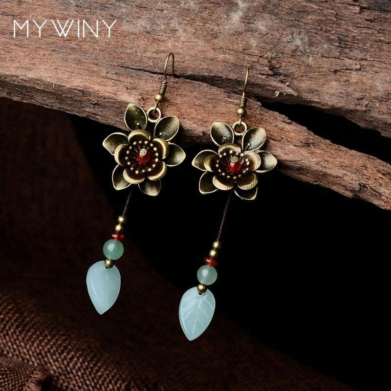 Mengkilap daun anting vintage, baru Asli Aventurine dangle earrings, baru tembaga bunga anting perhiasan Etnik eksotis etnis