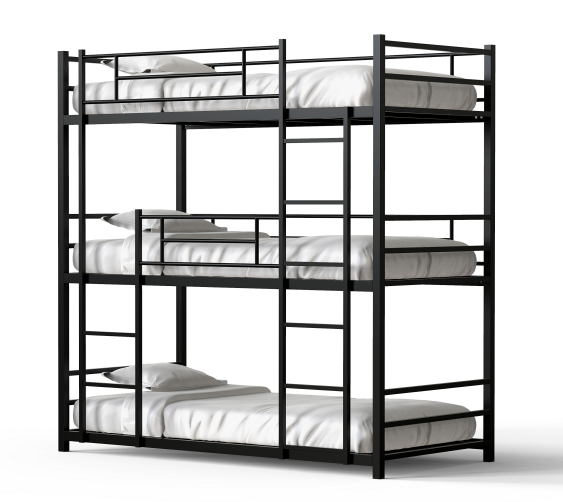 High weight capacity completely knock down luxury white triple metal steel bunk bed with pull out daybed frame for school
