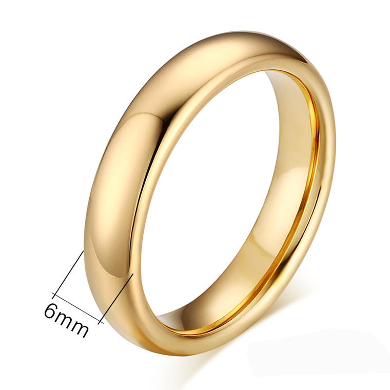Bulk Jewelry China Wholesale Tungsten Engagement Rings 6mm Gold Plated