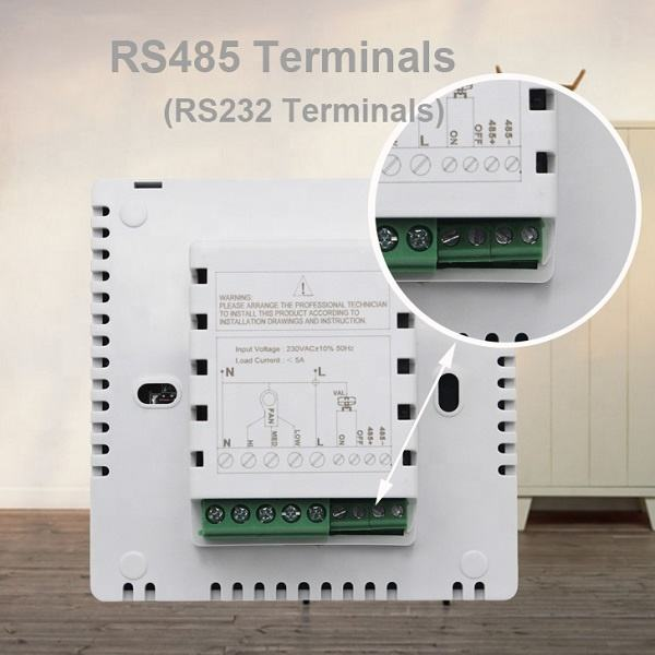 HVAC Modbus Rs485 Communication Touch Screen Fan Coil Thermostat