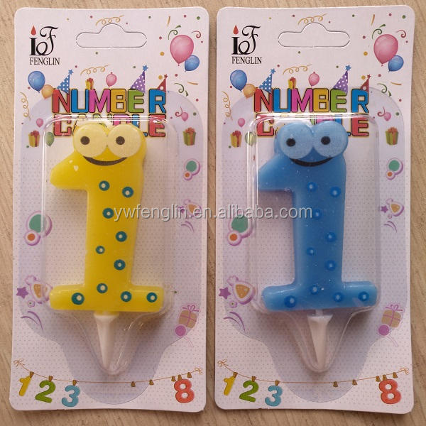 birthday number candle with base and eye