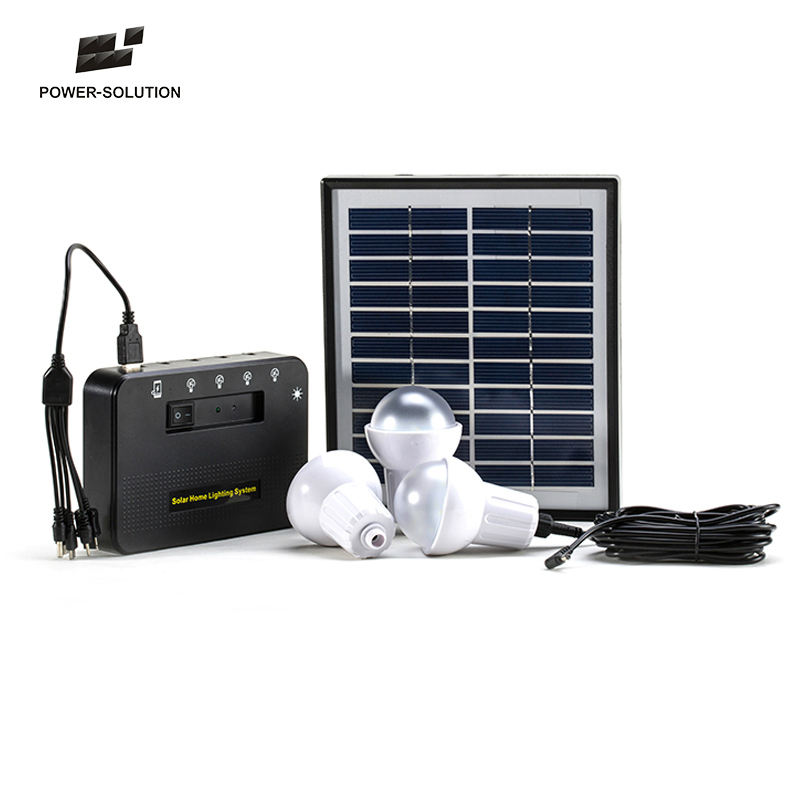 4W Solar Panel 3 Bulbs Solar Indoor And Outdoor Solar Lighting Kit With Phone Charger