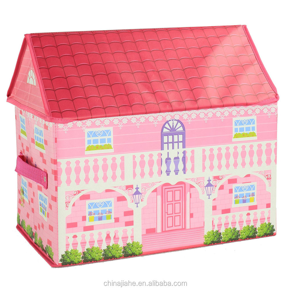 Manufacturing kids pink house shaped non woven fabric toy storage box
