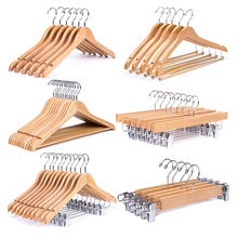 Chinese factory wooden skirt clothing pants trousers hanger with clips