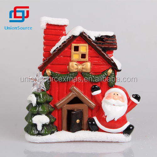 Christmas Ceramic Village With Santa Claus Reindeer And Xmas Tree LED Lighted