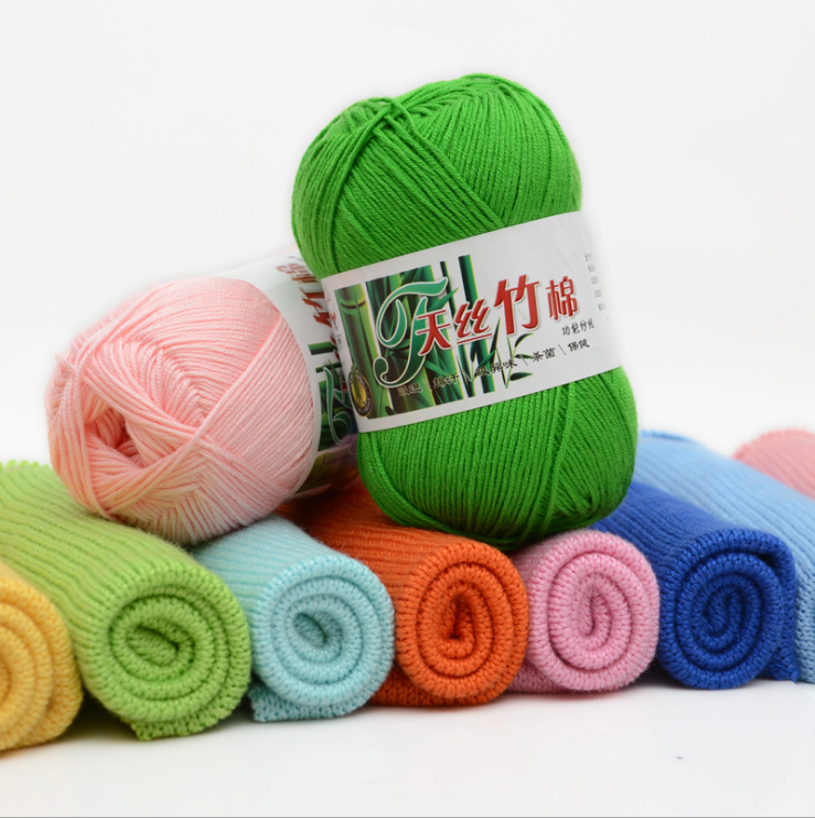 Free samples chinese fancy bamboo cotton yarn manufacturer good sell eco friendly hand knitting 50g 100gbambu bamboo cotton yarn