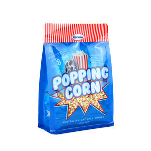 Custom Printed Clear Resealable Ziplock Zipper Packaging Bag Stand Up Pouch For Popcorn With Window And Euro Hole