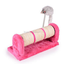 Factory supply pet product soft plush cat scratcher post,cat plush toy/cat climbing tree withspring mouse