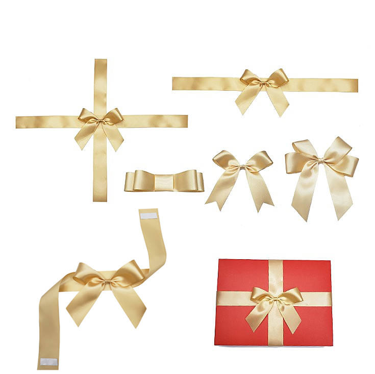Top grade pre-made satin ribbon elastic bow with stretch loop,100% polyester gift packing wrapping ribbon bow L13
