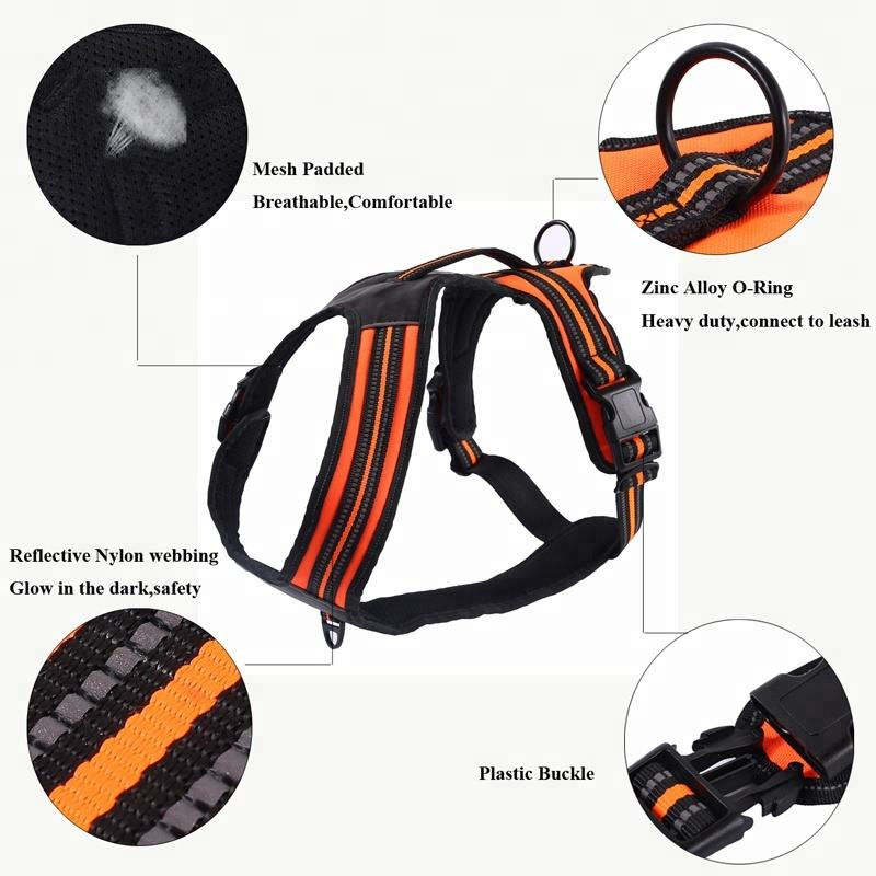 Two Leash attachment No Pull Adjustable 3M Reflective Pet Dog Vest Harness for Outdoor Walking Hiking Adventure