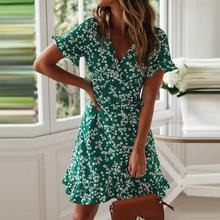 New 2019 Women Clothing V Neck High Waist Green Floral Lady Ruffle Dresses Bohe Casual Woman Dress