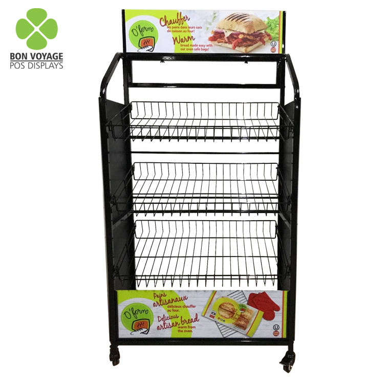 Removable metal wire tiered bakery bread display rack