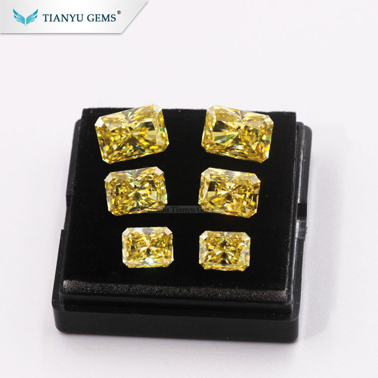 Tianyu Gem Lab Created Gemstone Radiant cut Natural Vivid Yellow Moissanite Diamond for Jewelry Making