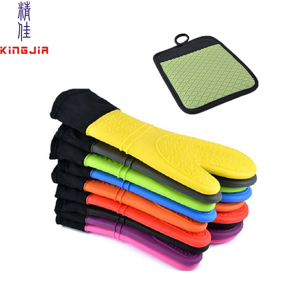Extra Long Professional silicone oven mitts with quilted cotton lining