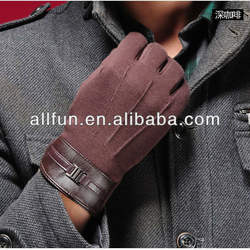 Winter Business Men Leather Touch Screen Wool Gloves