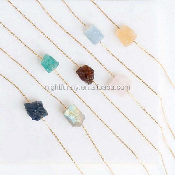 Raw Crystal with Rough Stone Rose Quartz Necklace Dainty Stone and Rock Necklaces
