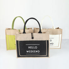 High Quality Burlap Tote Bag Natural Jute Hemp Shopping Tote Woman Handbag