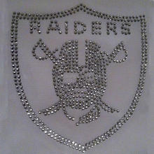 wholesale iron on rhinestone oakland raider design for dress