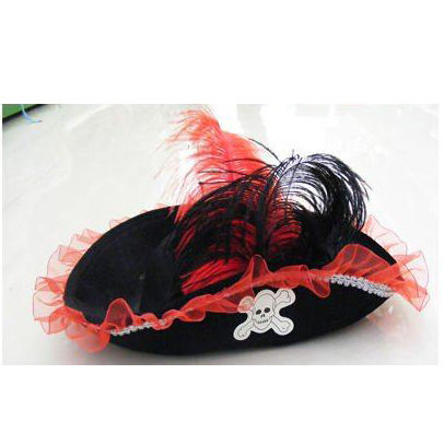 high quality halloween plush felt Scallywag Women Pirate Tricorn Costume Hat with big feather MH-0938