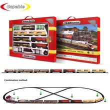 1:87 Educational DIY Railway Station Electric Track Train Locomotive Set Toys With Light and Music for Kids