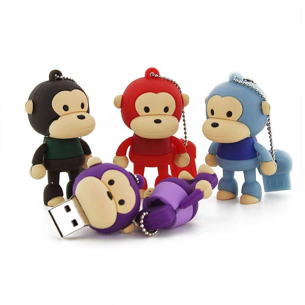 Novelty custom Monkey Shape 16GB USB 2.0 Flash Drive with Keychain Cute Animal Pen Drive Thumb Drive Memory Sticks