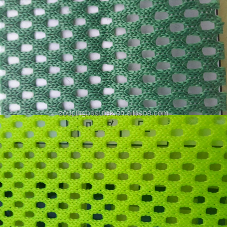 100% polyester fluorescent yellow/green mesh fabric for wearing