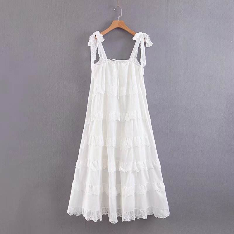 High quality solid color lace trim free size summer fashion cotton women fairy dress