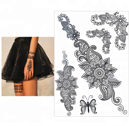Mode Flash Tattoo Vrouwen Zwarte Henna Jewel Lace Sexy Secret Arm Body Bloem Tattoo Sticker