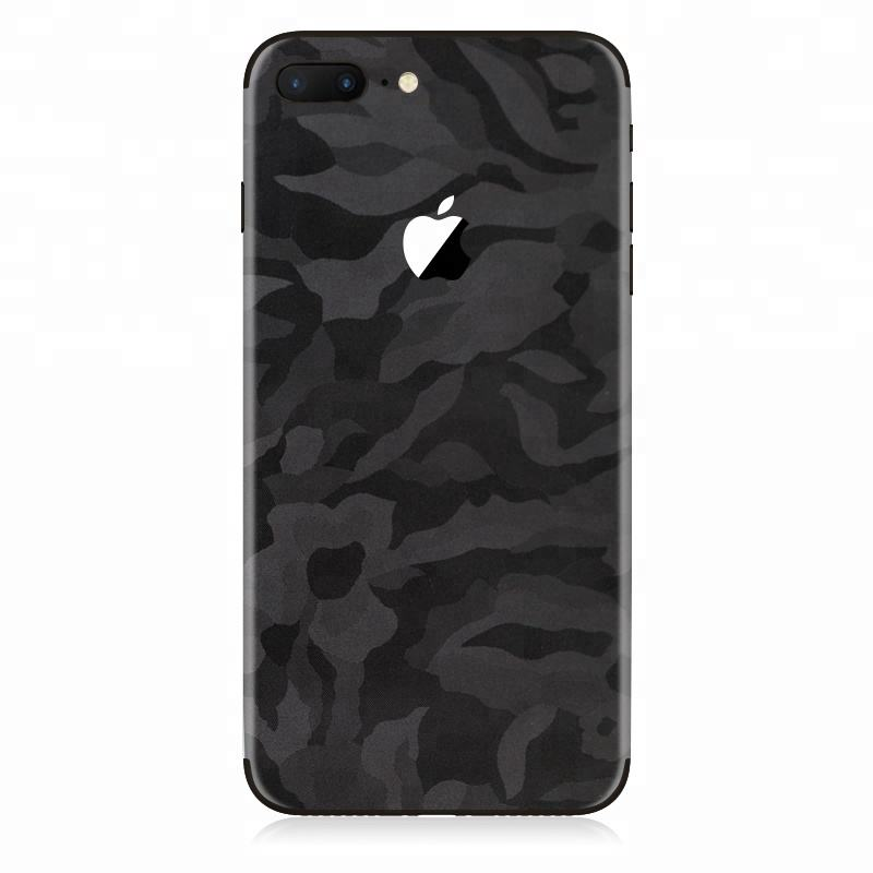 Custom mobile phone decoration high end 3M vinyl black camo texture 3D sticker skins for iPhone x decals