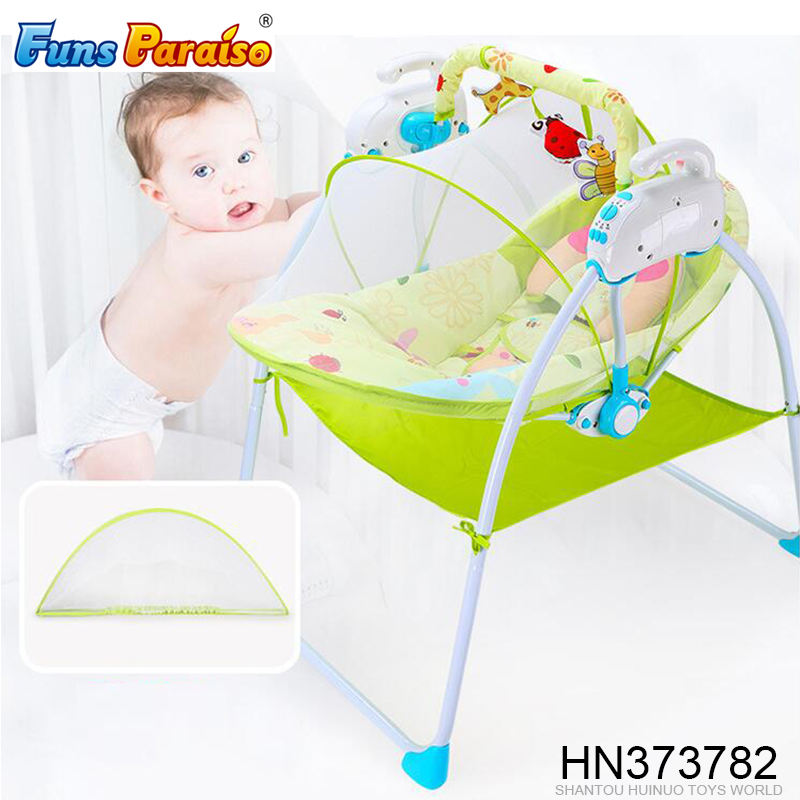 High quality electric rocking bed foldable baby cot bed with music HN373782