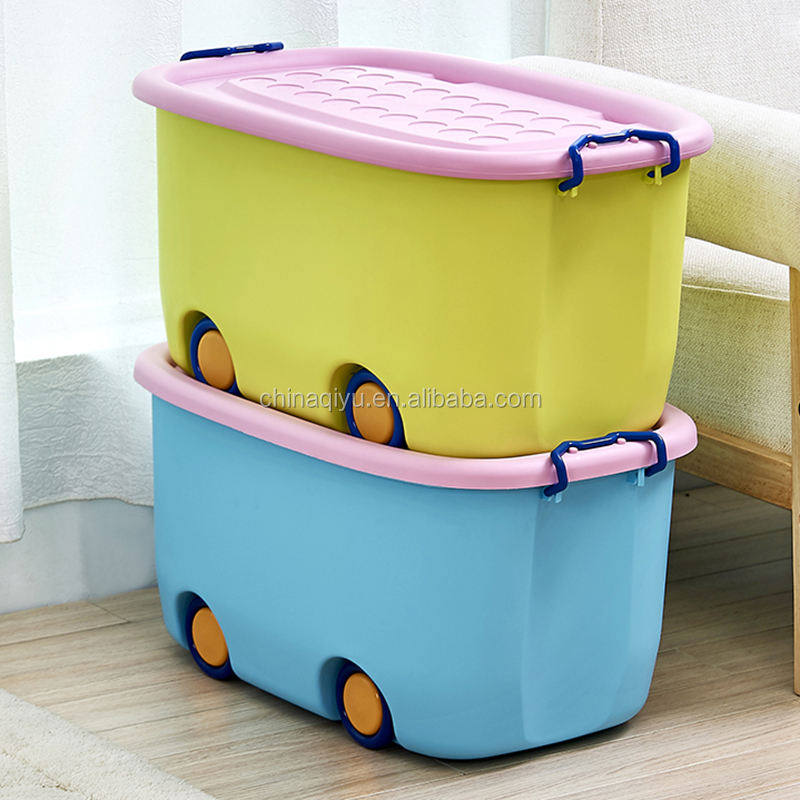 Extra Large Children Cartoon PP Material Toy Storage Box plastic storage containers with wheels
