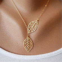 New fashion golden hollow leaves leaves female charm jewelry necklace clavicle chain