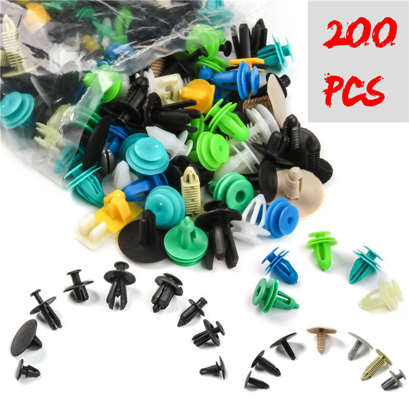 200 PCS Universal Misto Clipes Auto Fastener Car Bumper Retentor Painel Fastener Rivet Fender Liner Clipe Porta do Carro