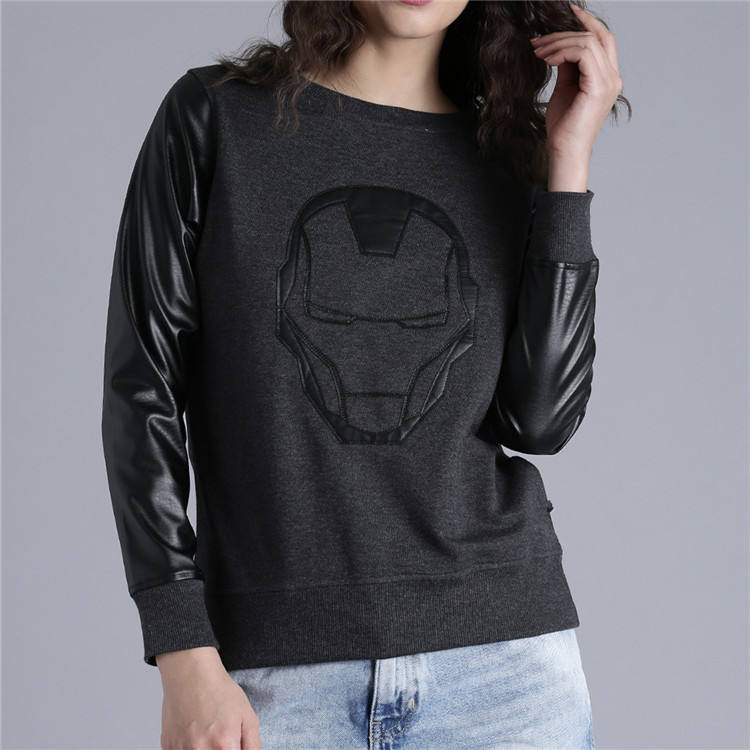 custom fashional women crewneck leather sleeve sweatshirt