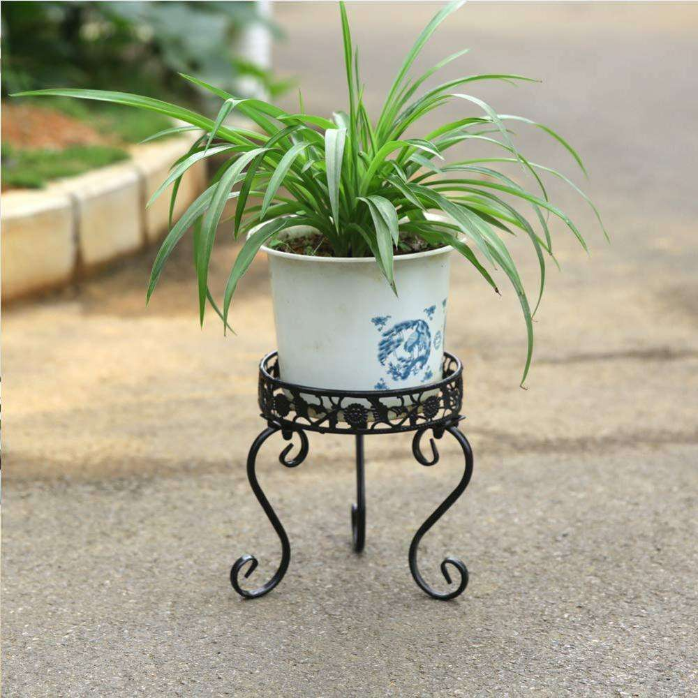Home Decoration Black Meta Ironl Plant Stand Potted Irons Art Planter Supports Floor Garden Flower Pot Display Rack