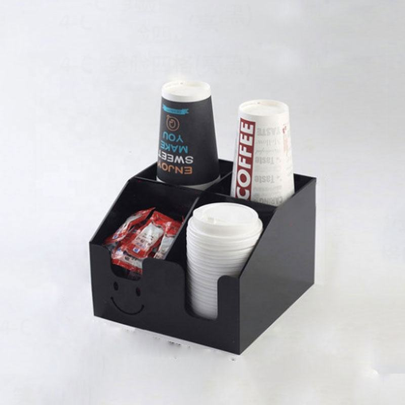 Custom Smile Acrylic Paper Cup Holder for Coffee Condiment Organizer