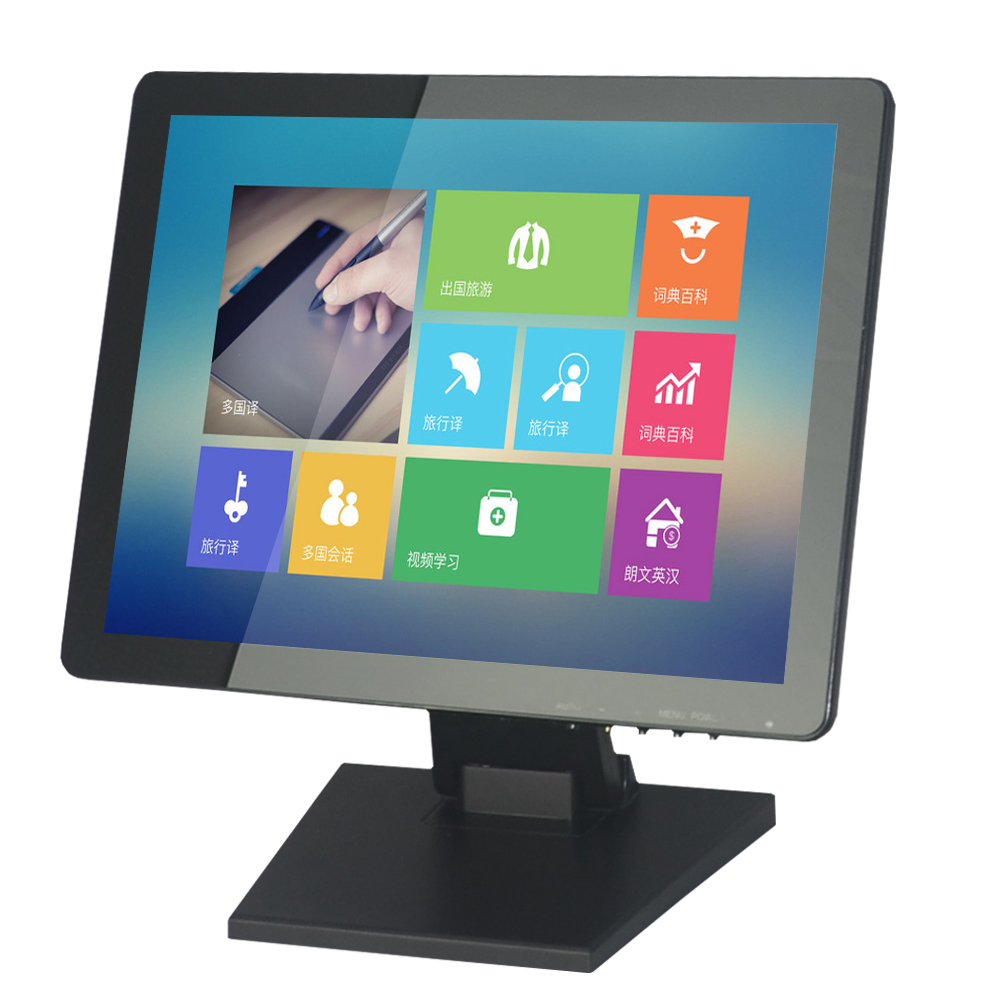 15 Inch USB Touchscreen LED Monitor for POS with True Flat Resistive Or Capacitive Touch