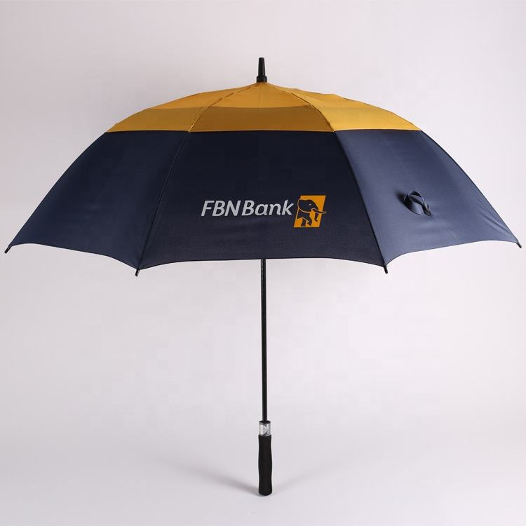 2018 hot advertising design logo promotional 190t pongee 2 people 23 8k straight golf wind-proof umbrella