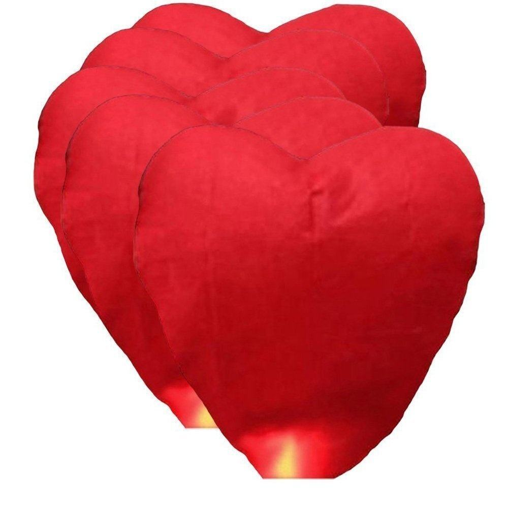 Boomwow Wire Free Fully Biodegradable Chinese Heart Shape Kongming Sky Lanterns for Wedding Propose Valentine's Day