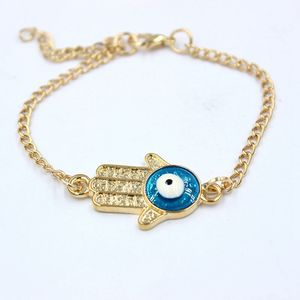 Turkish Womens Accessories Wholesale 14K Gold Hamsa Hand Blue Evil Eye Chain Bracelet