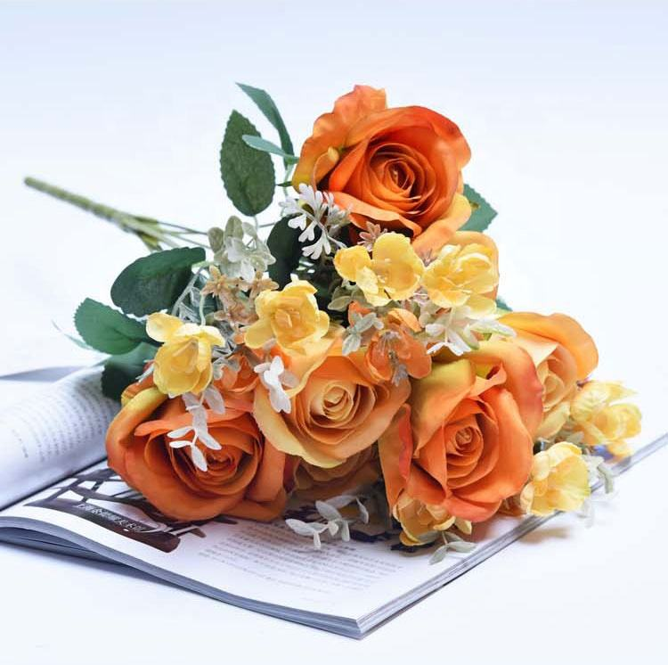 310197800710 11 heads Love-sickness roses orange top seller 2019 for flowers rose bunch wedding party bridal bouquet