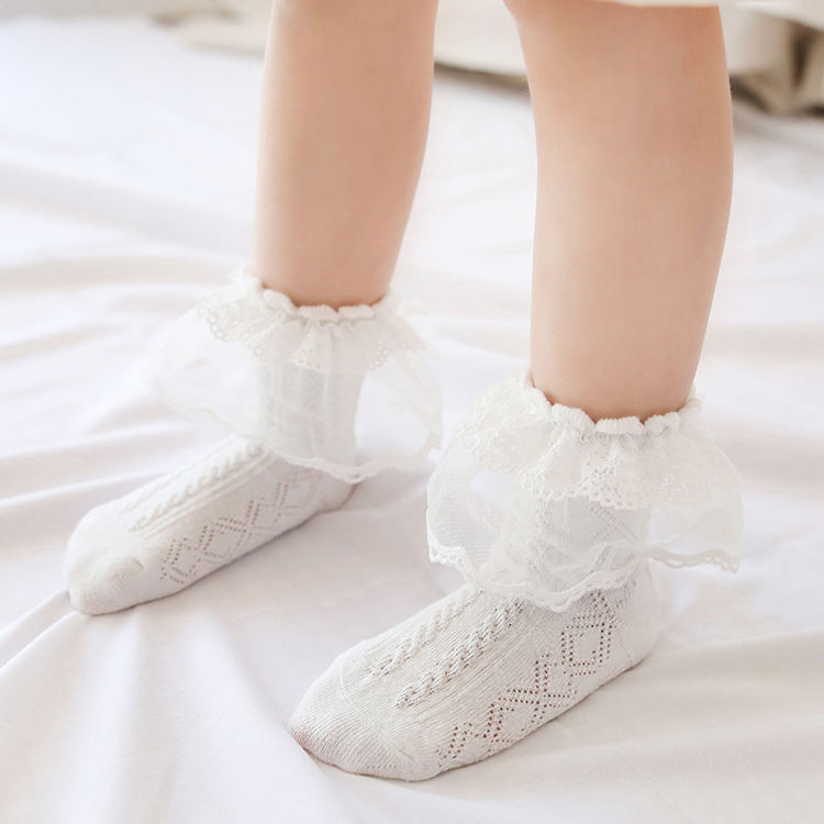 Wholesale Thin Combed Cotton Summer Children Baby Lace Mesh Socks Cute Ruffle Baby Girl Kids Socks