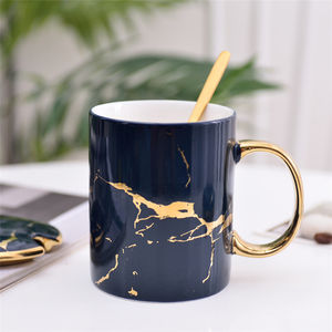 High grade fancy black marble porcelain tea coffee mugs with gold handle
