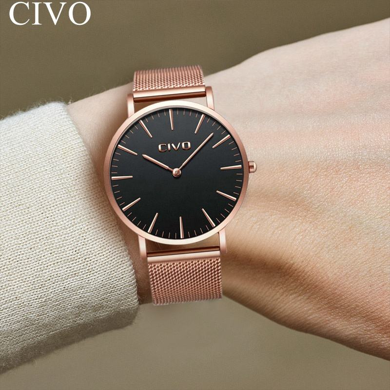 CIVO Ultra Thin 6 MM Quartz Mesh watch lady wristband watch metal stainless steel material women gold plated wrist watch